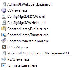 Machine generated alternative text: AdminU WqIQueryEngine.dII  CEViewer.exe  ConfigMgr2012SCWxml  ConfigMgrSCWHeIper .dll  ContentLibraryExpIorer.exe  ContentLibraryTransfer.exe  ContentOwnershipTooI.exe  DPJobMgr.exe  Microsoft.ConfigurationManagement.M...  RBAViewer.exe  runmetersumm.exe
