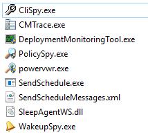 "Machine generated alternative text: CliSpy.exe  CMTrace.exe  DeploymentMonitoringTooI.exe  PolicySpy.exe  power""vr.exe  SendScheduIe.exe  SendScheduIeMessages.xmI  SleepAgentWS.dII  WakeupSpy.exe"