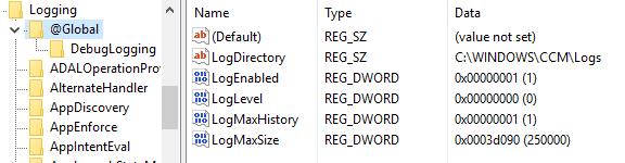 Machine generated alternative text: Logging  v @GIobaI  DebugLogging  ADALOperationPro  AlternateHandIer  AppDiscovery  AppEnforce  ApplntentEvaI  Name  (Default)  ab LogDirectory  LogEnabIed  LogLeveI  LogMaxHistory  LogMaxSize  Type  REG SZ  REG SZ  REG DWORD  REG DWORD  REG DWORD  REG DWORD  (value not set)  CAWINDOWSXCCMXLogs  DxDDDDDD01 (1)  DxDDDDDDDO (0)  DxDDDDDD01 (1)  DxDD03dD90 (2SDDDO)