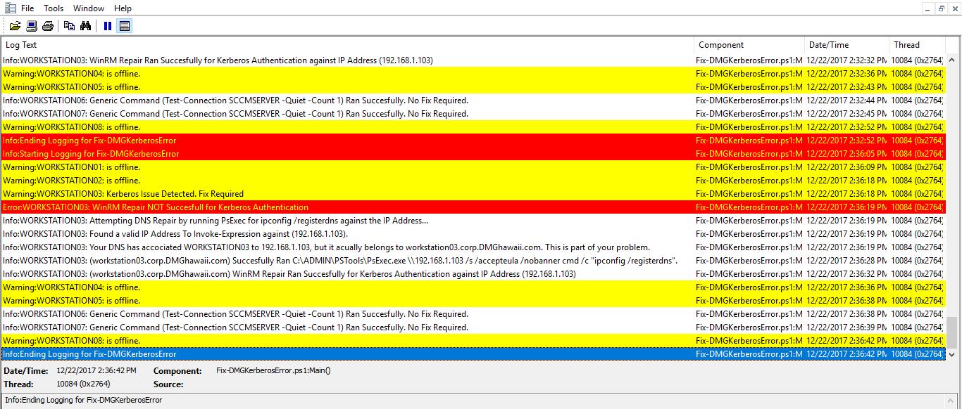 SCCM Script: Fix Kerberos Authentication Errors | David